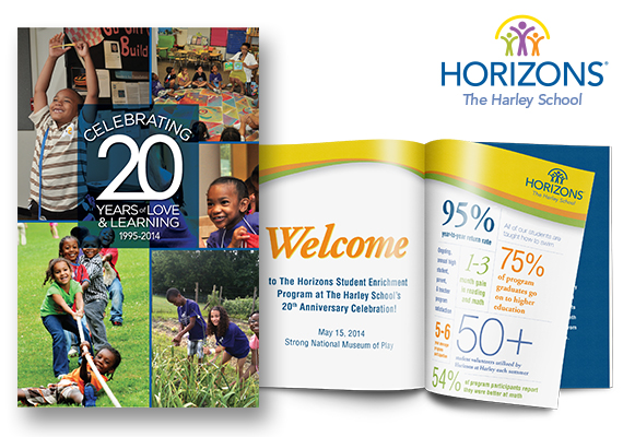 2014 Program Book and 20th Anniversary Gala Event Book for the Horizons Student Enrichment program at The Harley School.