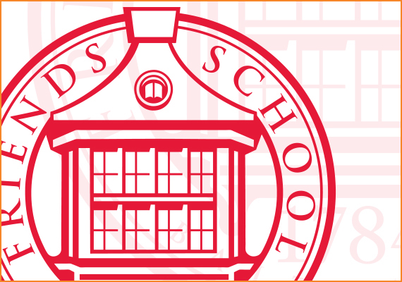The Friends School seal employs a physically distinctive and familiar aspect of the campus architecture. The window icon alludes to both seeing into the intimate educational experience and out to the world that the students of Friends are preparing to engage.